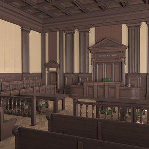 courtroom dark interior 3D