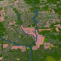 Donetsk City of Ukraine Aug 2020 3d model