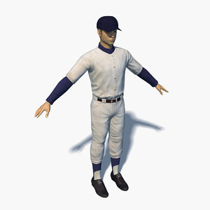 3D school baseball player 0001 model
