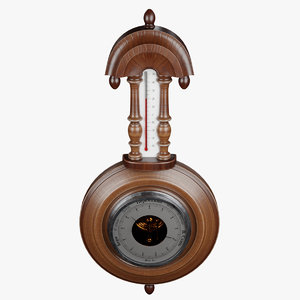 old barometer thermometer 3D model