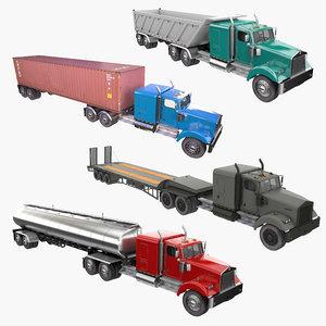 3D truck trailer w900 semi model