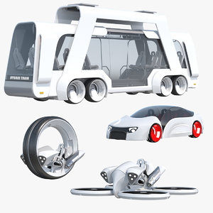 3D sci-fi futuristic vehicle bus