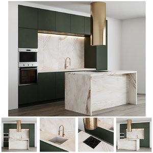 modern kitchen minimalistic facades 3D