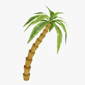 3D stylized cartoon palm tree