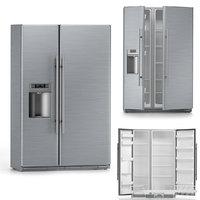 Fridge refrigerator two doors freezer inside outside 3D model