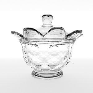 crystal sugar bowl 3D model