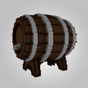 wood wooden voxel 3D