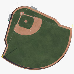 baseball field - brick wall 3D