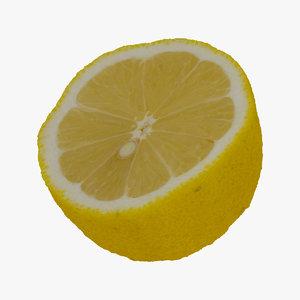 lemon half cut raw 3D model