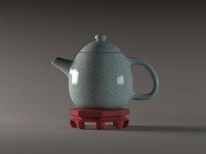 3D green glaze opening teapot