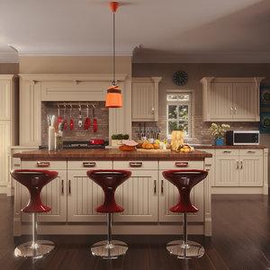 kitchen pbr setup octane model