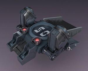 sci-fi strobe capsule cabin 3D
