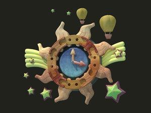 cartoon pendulum clock holiday 3D