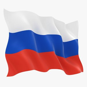 realistic russia flag 3D model