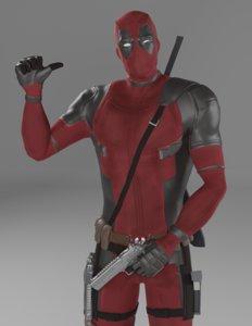 character deadpool superheroes 3D model