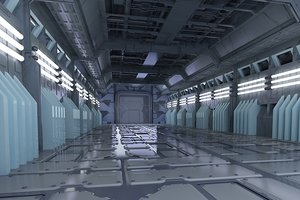 3D space stations passages sci-fi model