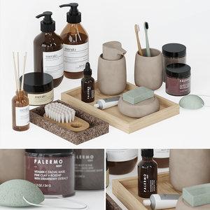 3D decorative set bathroom accessories model