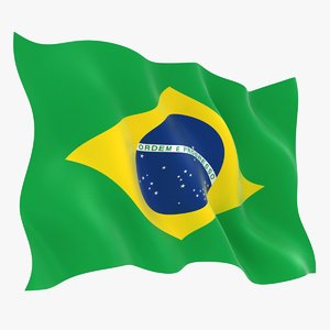 3D realistic brazil flag model