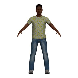 black teen boy character 3D model