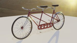3D oldschool tandem bicycle