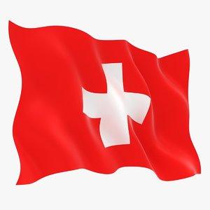 realistic switzerland flag 3D model