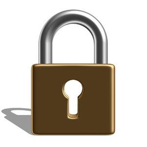 3D padlock pad lock model