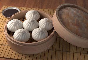 3D steamed bun baozi