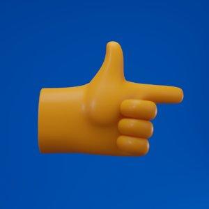 3D index finger hand pointing model