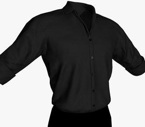 3D black suit shirt model
