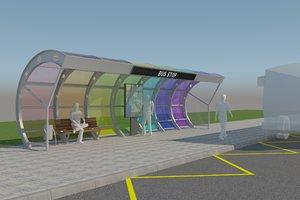 modern design bus stop 3D
