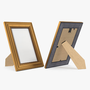 3D small gold photo frame model