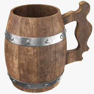3D real wooden cup model