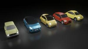 3D 5 mini cars hyundai model