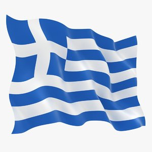 realistic greece flag 3D model