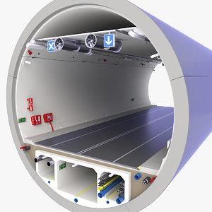 concrete tunnel 3D model