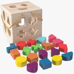 3D cube shape sorter toy