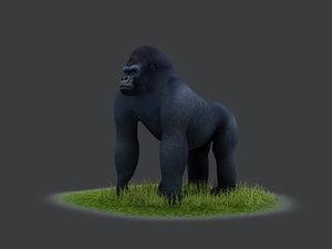 3D bush chimpanzees silverback gorillas