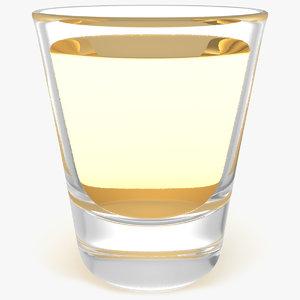 3D shot glass tequila model