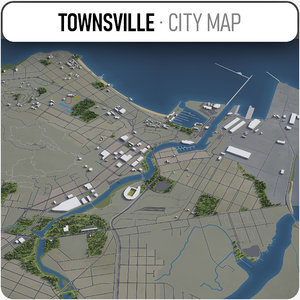 3D townsville area buildings model
