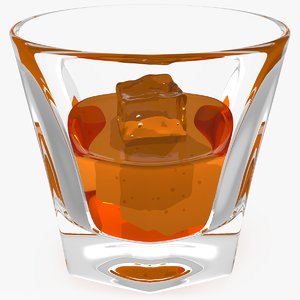 3D shot glass whiskey ice
