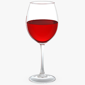 filled red wine glass 3D