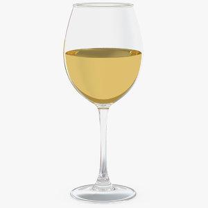 filled white wine glass 3D model