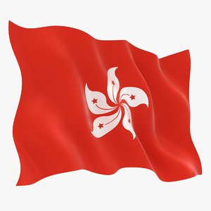 hong kong flag animation 3D model