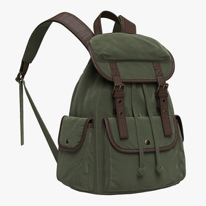 vintage backpack army green 3D model