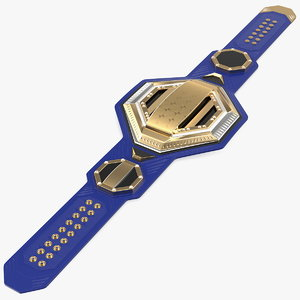 gold champion belt lies 3D model