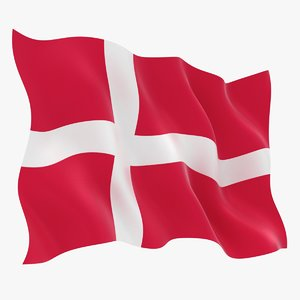 realistic denmark flag 3D model