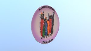 3D island zanzibar magnet souvenir