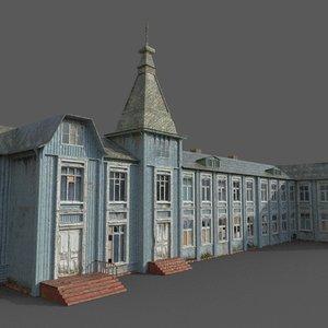 old abandoned wooden mansion 3D model