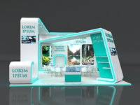 Exhibition Stand Stall 7x7m Height 450 cm 3 Side Open 3D model