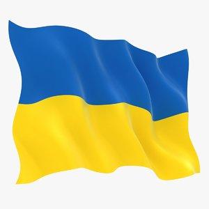 3D model realistic ukraine flag